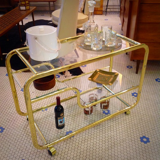 Milo Baughman DIA Brass Bar Cart C.1980u0027s | Awesome Curved Deco Inspired  Brass And