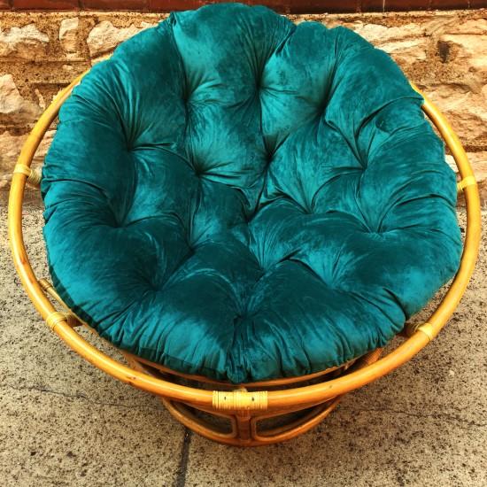 Bohemian Modern Papasan Chair With New Cushion   Bohemian Modern Papasan  Chair With Brand New Teal