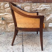 High Quality Mid Century Harvey Probber Caned Barrel Back Chair | Rare Cane Backed Barrel  Chair By Harvey