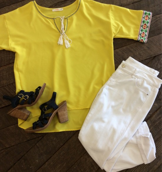 Mellow Yellow Orange Creek Shirt 1199 White House
