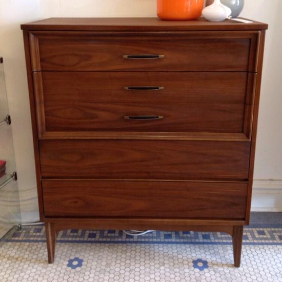 Walnut 4 Drawer Upright Dresser By Dixie Furniture   Mid Century Modern  Upright 4 Drawer Dresser