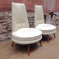 Incroyable Mid Century Modern High Back Slipper Chairs Pair | Amazing Mid Century High  Back Oval Seat