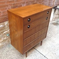 Mid Century Modern Upright Highboy Stanley Dresser | Mid Century Walnut  Upright Dresser With 5 Drawers