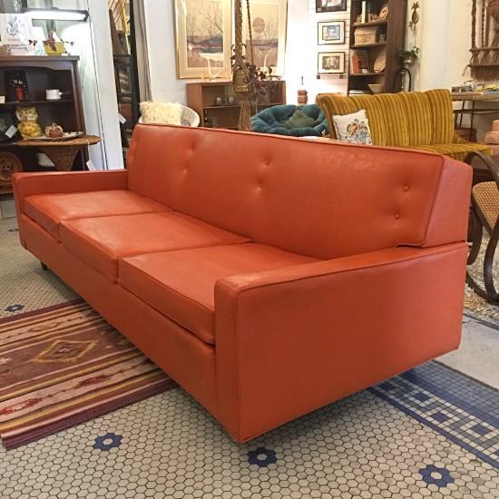 Vintage Mid Century Modern Orange Vinyl Sofa | Vintage Mid Century Modern  Orange Vinyl Sofa Featuring