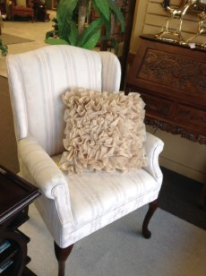 CHAIR  2 Available | Striped Wingback Chair NOTE: Faint Spots 28u201dW,