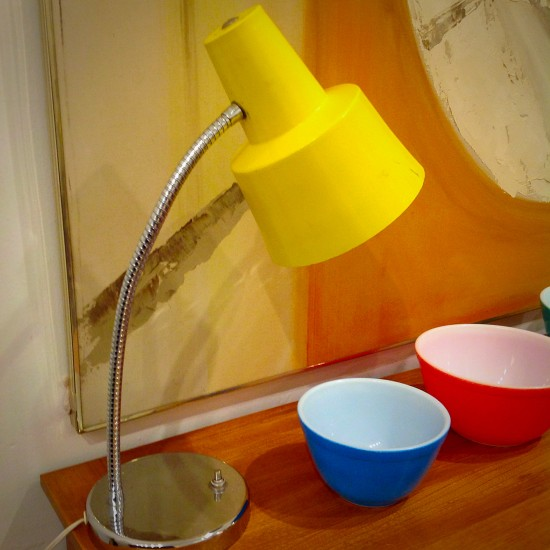 Vintage Yellow And Chrome Gooseneck Table Lamp | Striking Canary Yellow  Steel And Polished Chrome Gooseneck