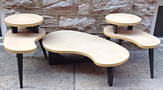 Mid Century Modern Atomic Biomorphic Table Set   Pair Of Two Tiered Side  Tables And Coffee