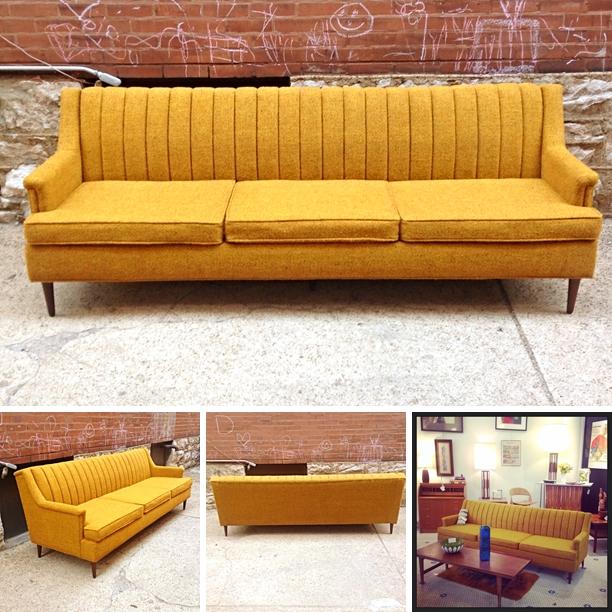 Mid Century Danish Modern Flexsteel Sofa In Yellow | Amazing Mid Century  Danish Modern Style Flexsteel Sofa In Excellent Condition. Original Yellow  Tweed.
