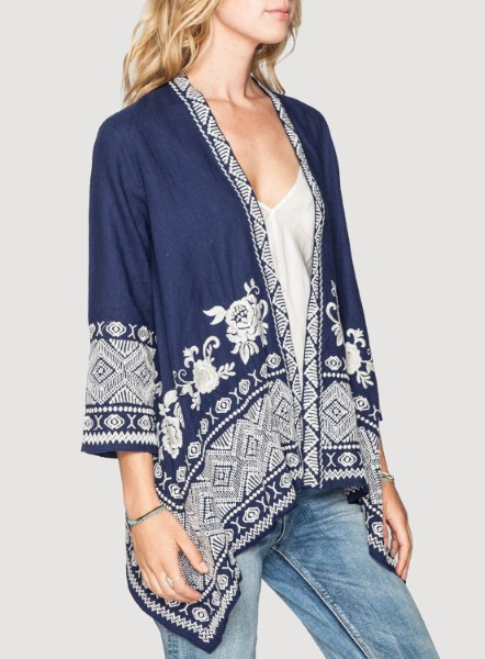 *ONLY 1 LEFT!* Linen Baylee cardigan by Johnny Was | The JWLA Baylee Linen Draped Cardigan is the perfect layering piece. Made of breathable linen, this  | Primary View | Boutique Belle Abeiile