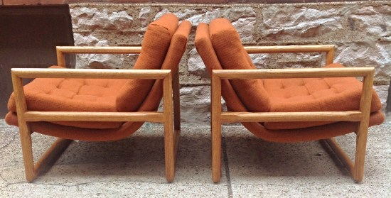 Pair Of Milo Baughman Scoop Lounge Chair   Oak | Pair Of Mid Century Milo  Baughman