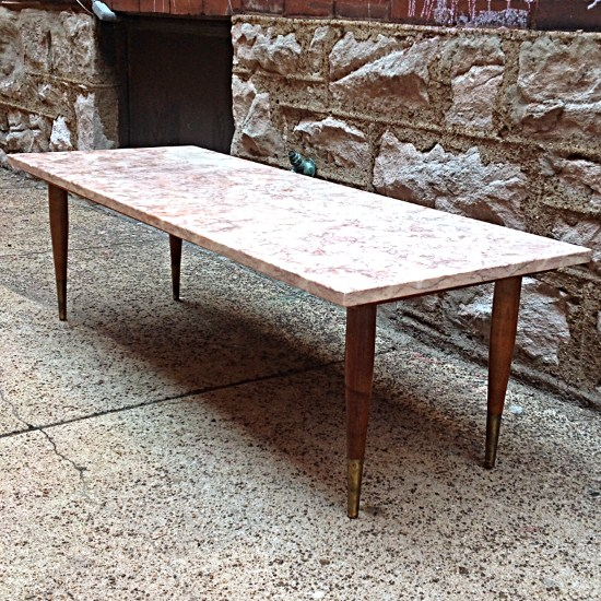 Mid Century Modern Rose Marble Coffee Table Gorgeous Rose Marble - Walnut and marble coffee table