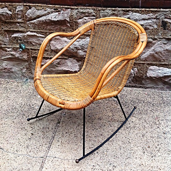 Mid Century Rattan And Wrought Iron Rocker. | Great Mid Century Rattan  Rocking Chair With